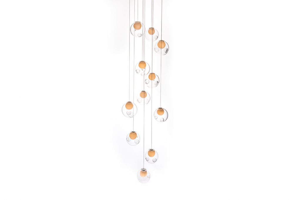 bocci 28.11 pendant light with square canopy on a white background