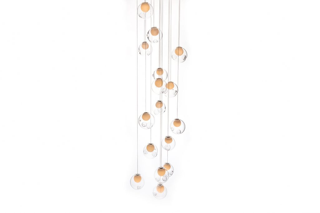 bocci 28.16 pendant light with square canopy on a white background