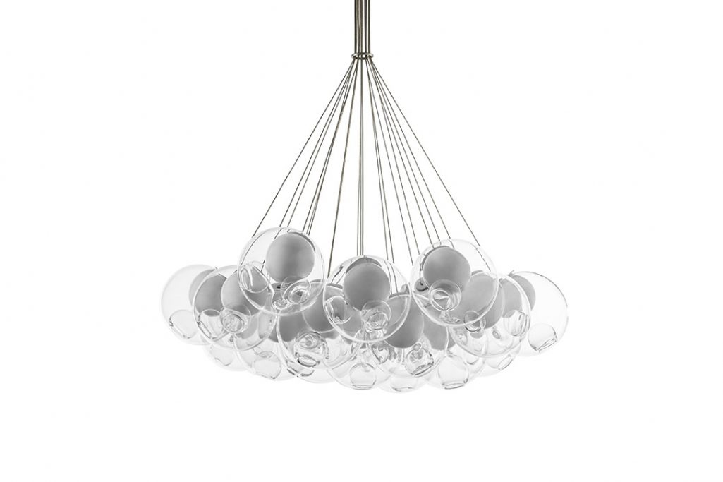 bocci 28.19 cluster pendant light turned off on a white background