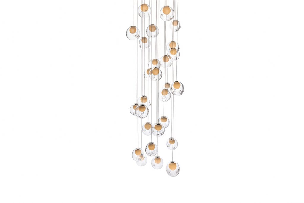 bocci 28.28 pendant light with square canopy on a white background