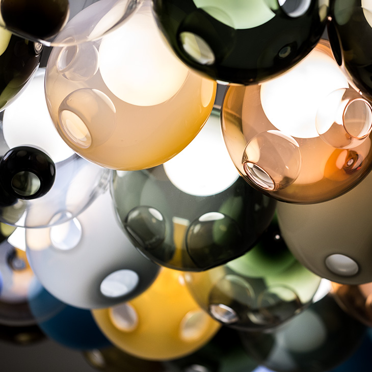 close up of colorful glass spheres of bocci 28 series pendant light