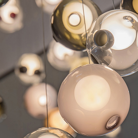 close up of the glass spheres of the bocci 28 series pendant lights