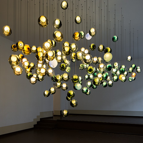 multiple colorful bocci 28m pendant lights in situ
