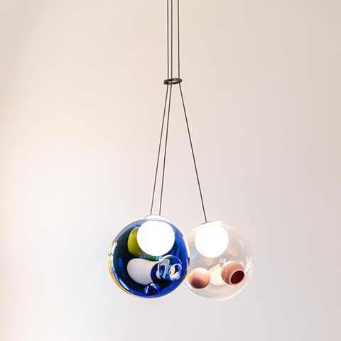 colorful bocci 28.3 cluster pendant light on a white background