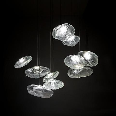 bocci 73 pendant lights on a black background