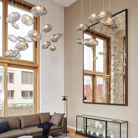 living room featuring multiple bocci 73m pendant lights