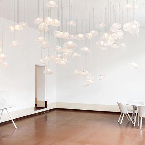 multipurpose room featuring multiple bocci 73m pendant lights