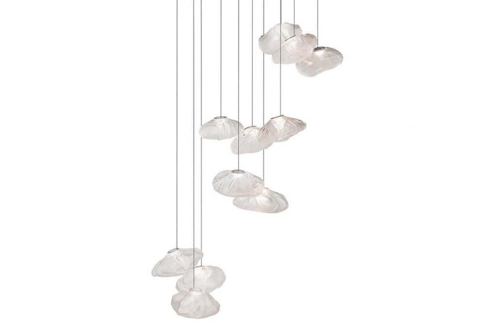 bocci 73.11 pendant light with rectangular canopy on white background