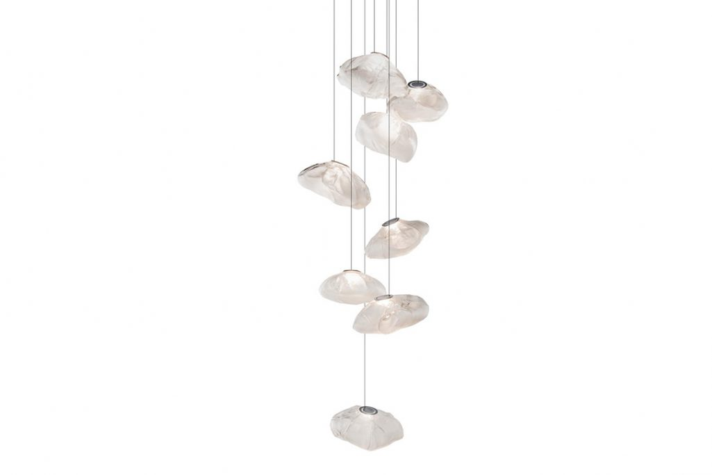 bocci 73.8 pendant light with round canopy on white background