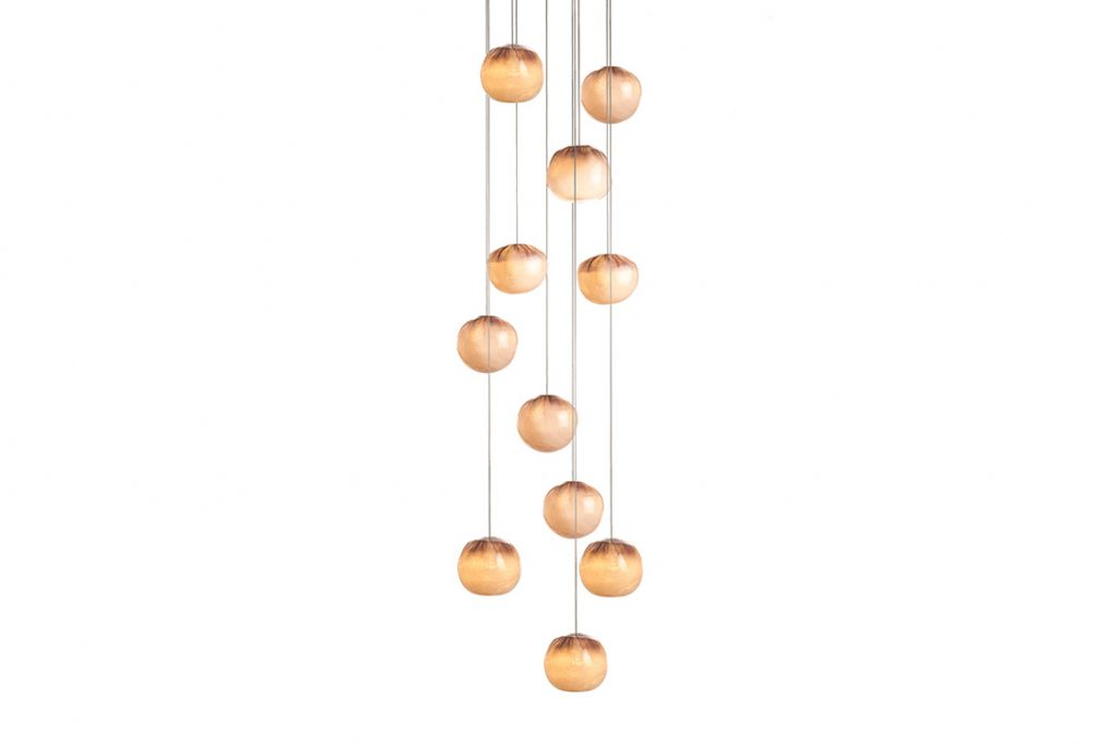 bocci 84.11 pendant light with square canopy on white background