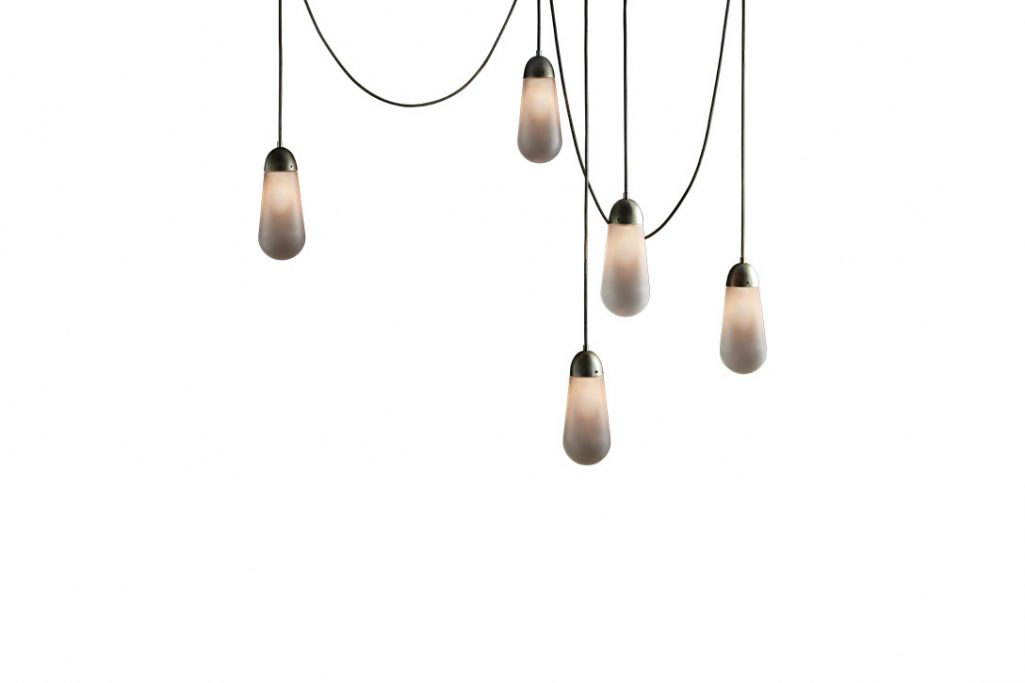 apparatus lariat pendant light installation on a white background