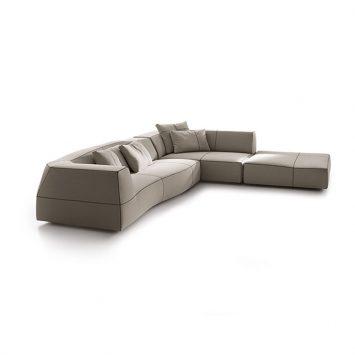 b&b italia bend sofa on a white background