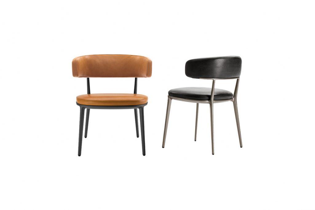 two b&b italia caratos chairs on white background