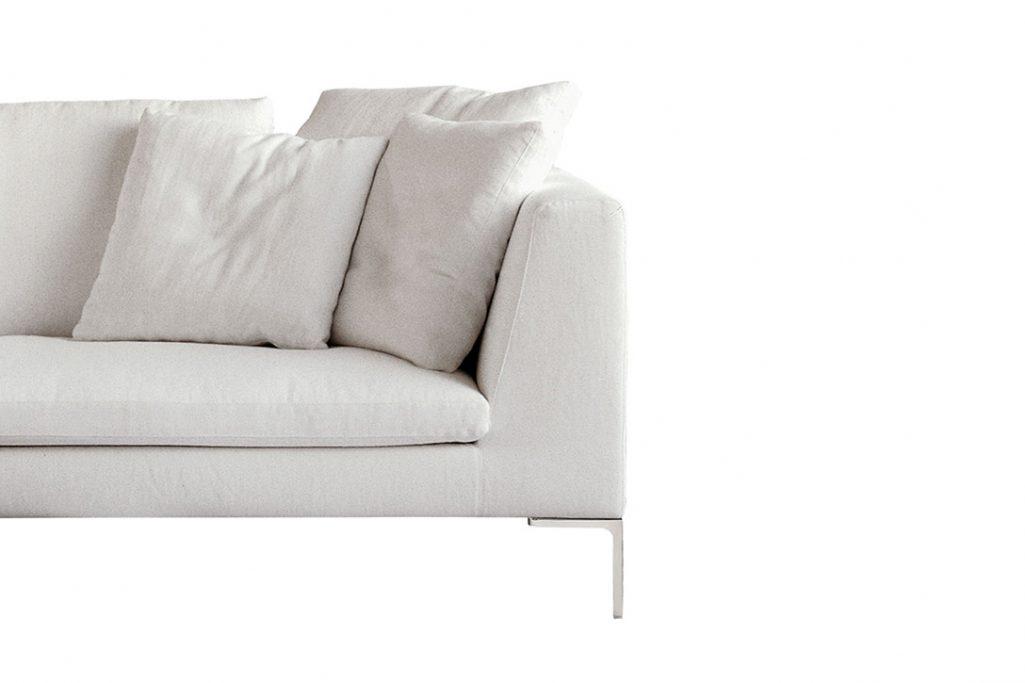 detail of a b&b italia charles sofa on a white background