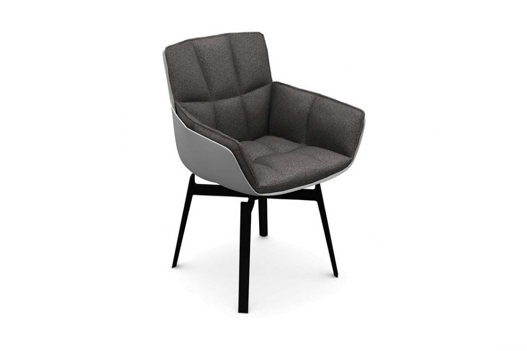 rendering of a b&b italia husk chair with metal base