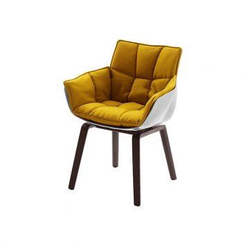 b&b italia husk chair with oak wood base on white background