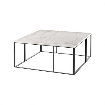 square b&b italia lithos table with calcatta marble top on white background