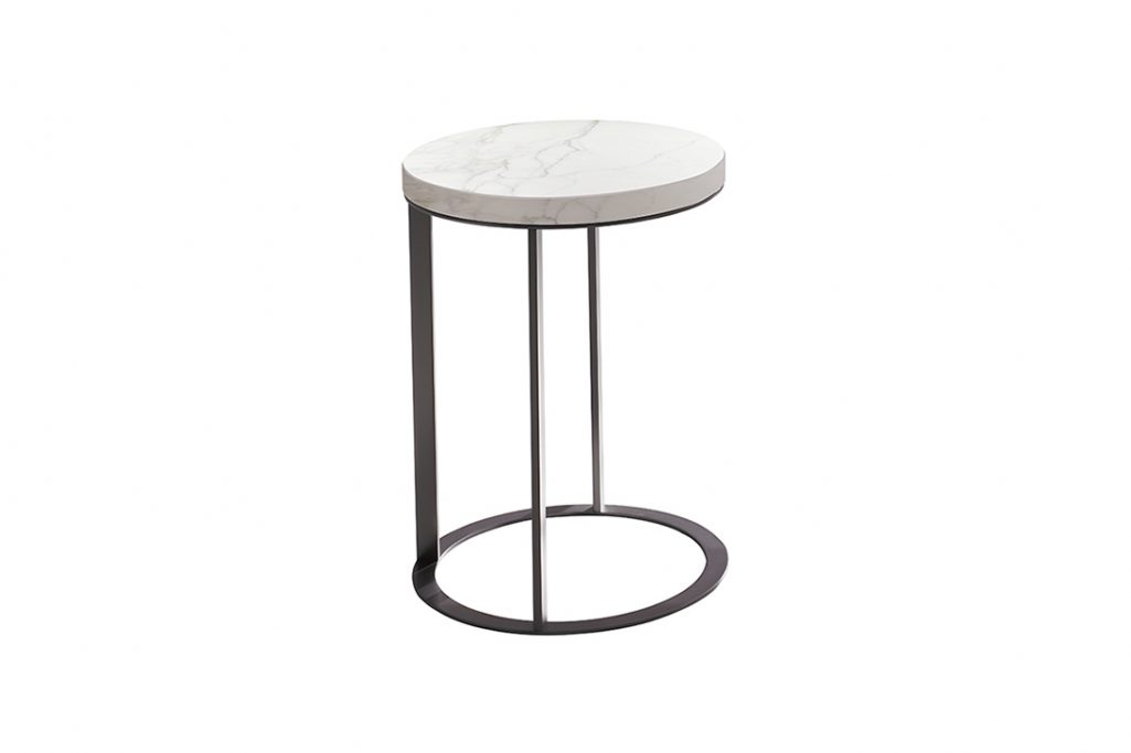 round b&b italia lithos table with calcatta marble top on white background