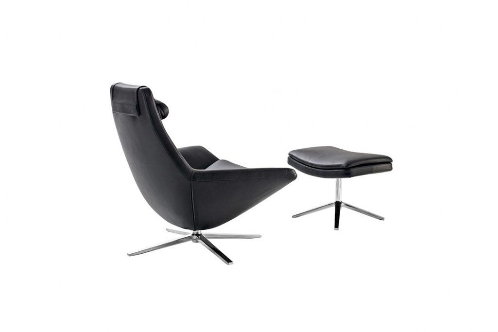 3/4 view b&b italia metropolitan armchair on a white background