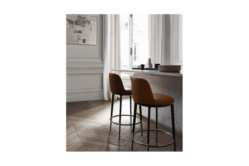 modern kitchen featuring b&b italia caratos stools