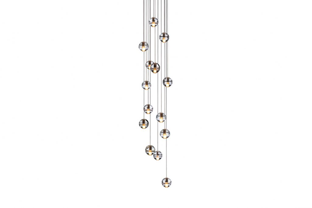 bocci 14.14 pendant light with round canopy on a white background