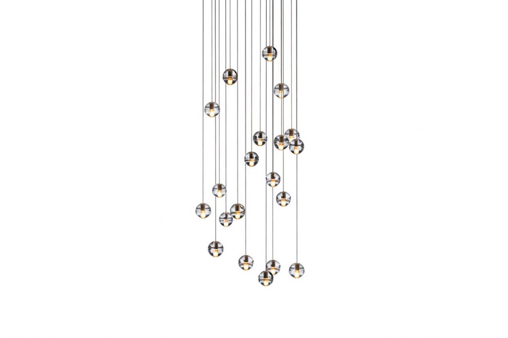 bocci 14.20 pendant light with rectangular canopy on a white background