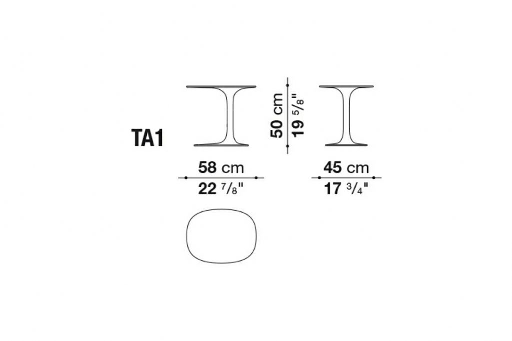 line drawing and dimensions for b&b italia awa table model ta1