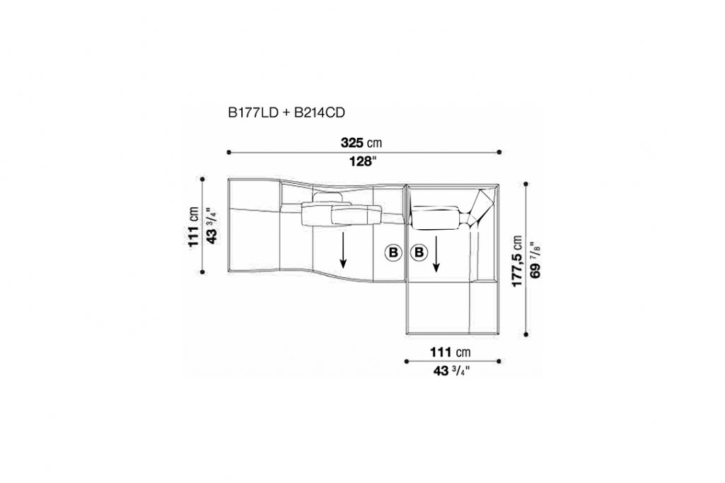 line drawing and dimensions for b&b italia bend sofa quickship configuration