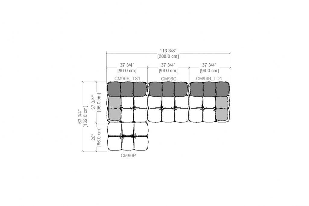 line drawing and dimensions for b&b italia camaleonda sofa chaise left