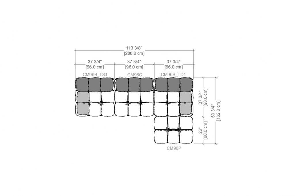 line drawing and dimensions for b&b italia camaleonda sofa chaise right