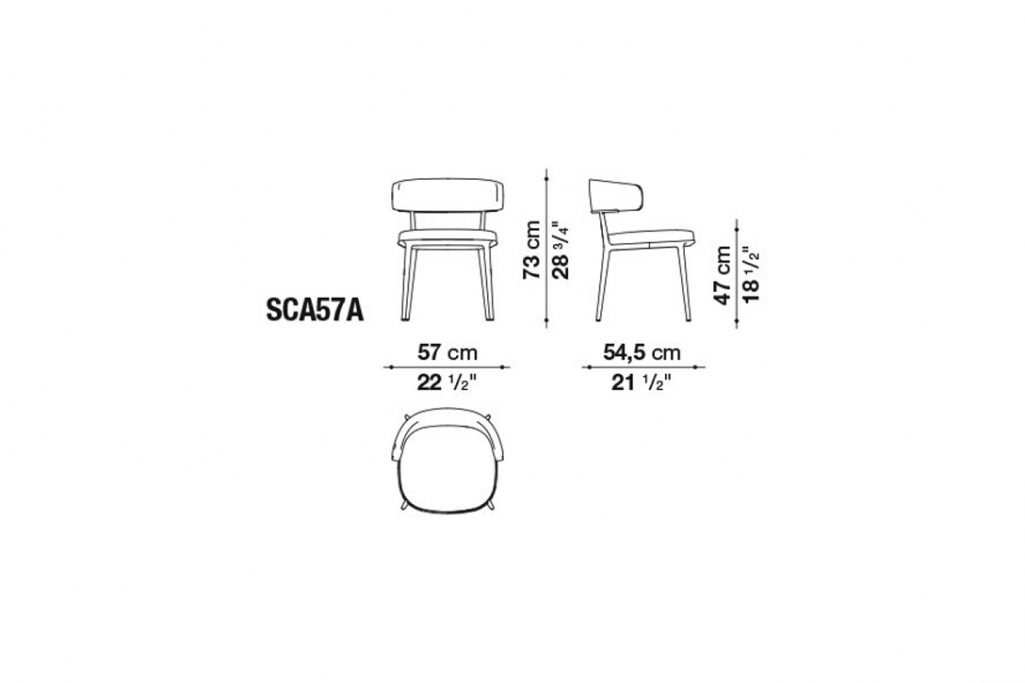 line drawing and dimensions for b&b italia caratos chair model sca57a