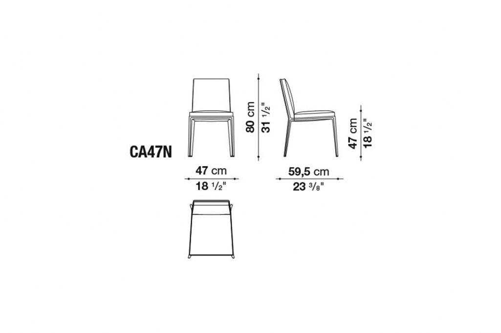 line drawing and dimensions for b&b italia caratos dining chair model ca47n