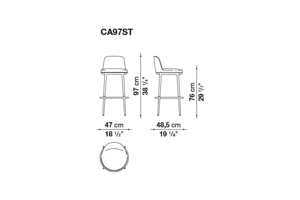 line drawing and dimensions for b&b italia caratos stool model ca97st