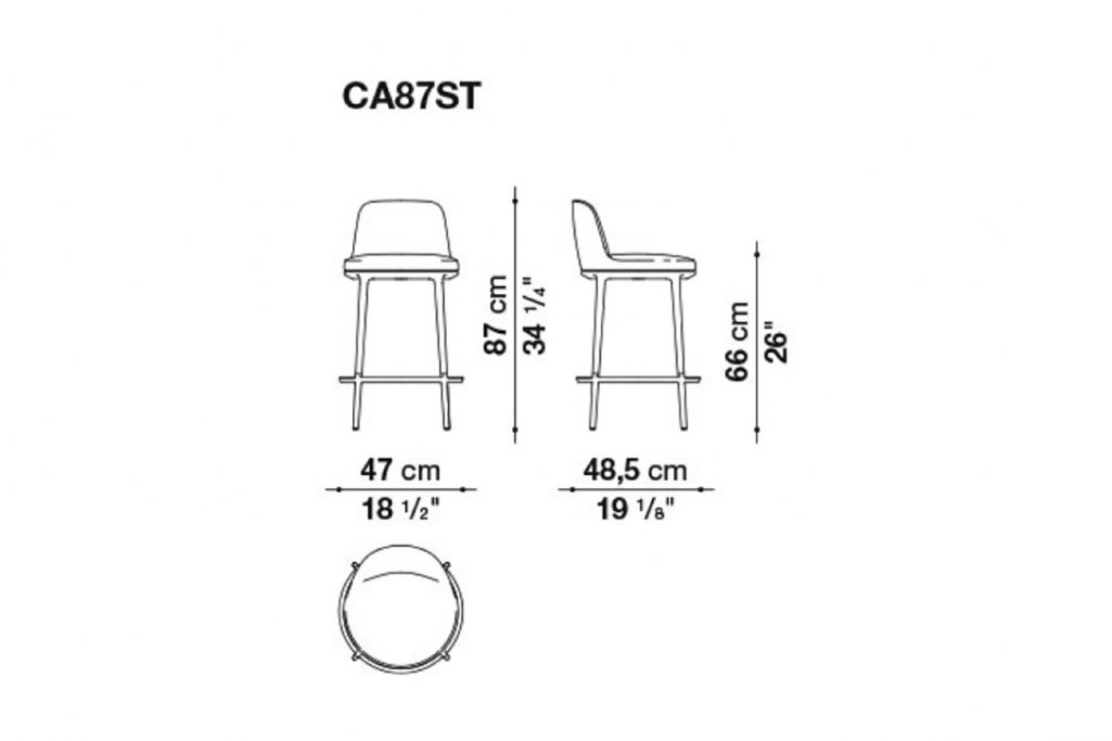 line drawing and dimensions for b&b italia caratos stool model ca87st