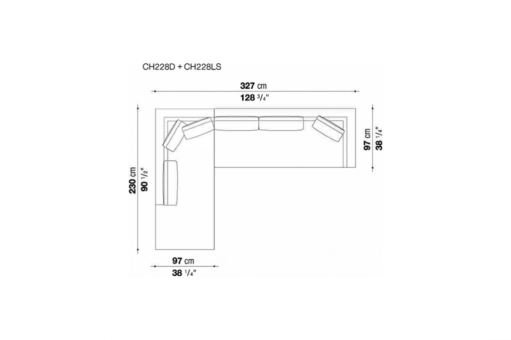 line drawing and dimensions for b&b italia charles sectional left