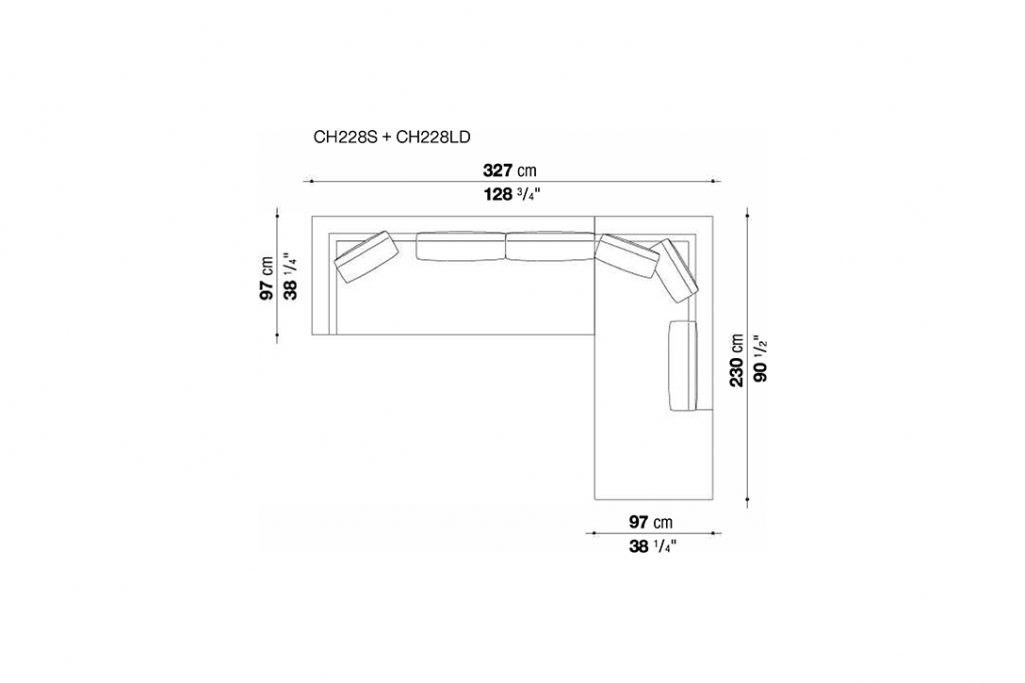 line drawing and dimensions for b&b italia charles sectional right