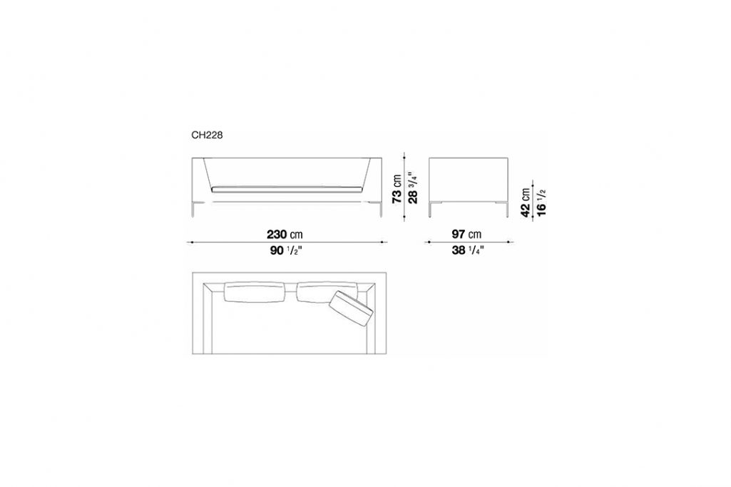 line drawing and dimensions for b&b italia charles sofa model ch228