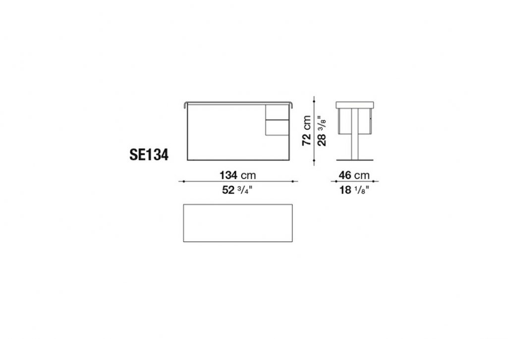 line drawings and dimensions for b&b italia eileen desk model se134