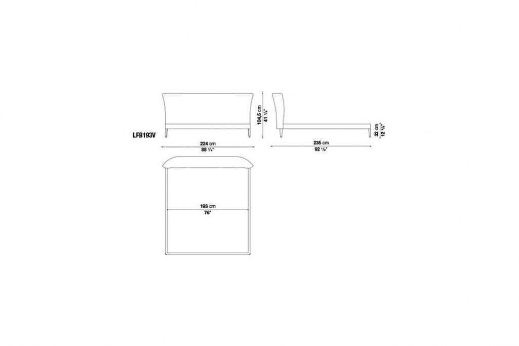 line drawing and dimensions for b&b italia febo bed model lfb193v