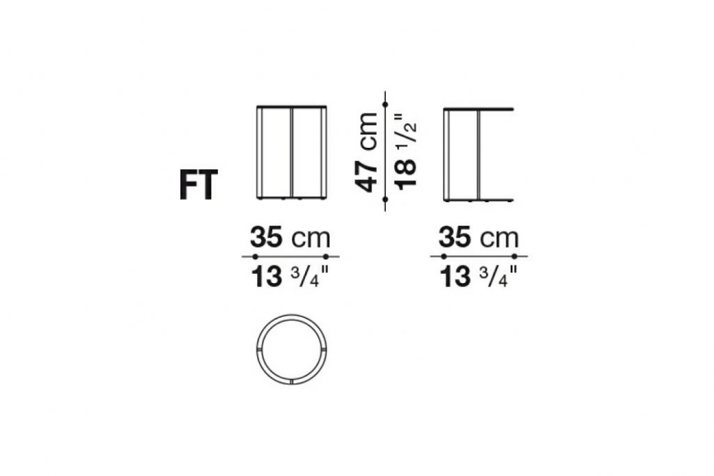 line drawing and dimensions for b&b italia frank side table model ft