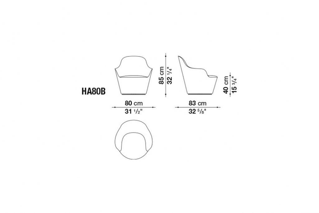 line drawing and dimensions for b&b italia harbor armchair model ha80b
