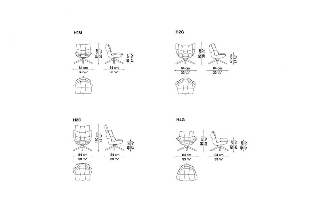 line drawings and dimensions for b&b italia husk armchair wood base