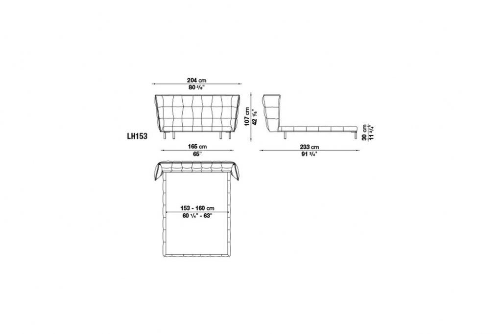 line drawing and dimensions for b&b italia husk bed model lh153