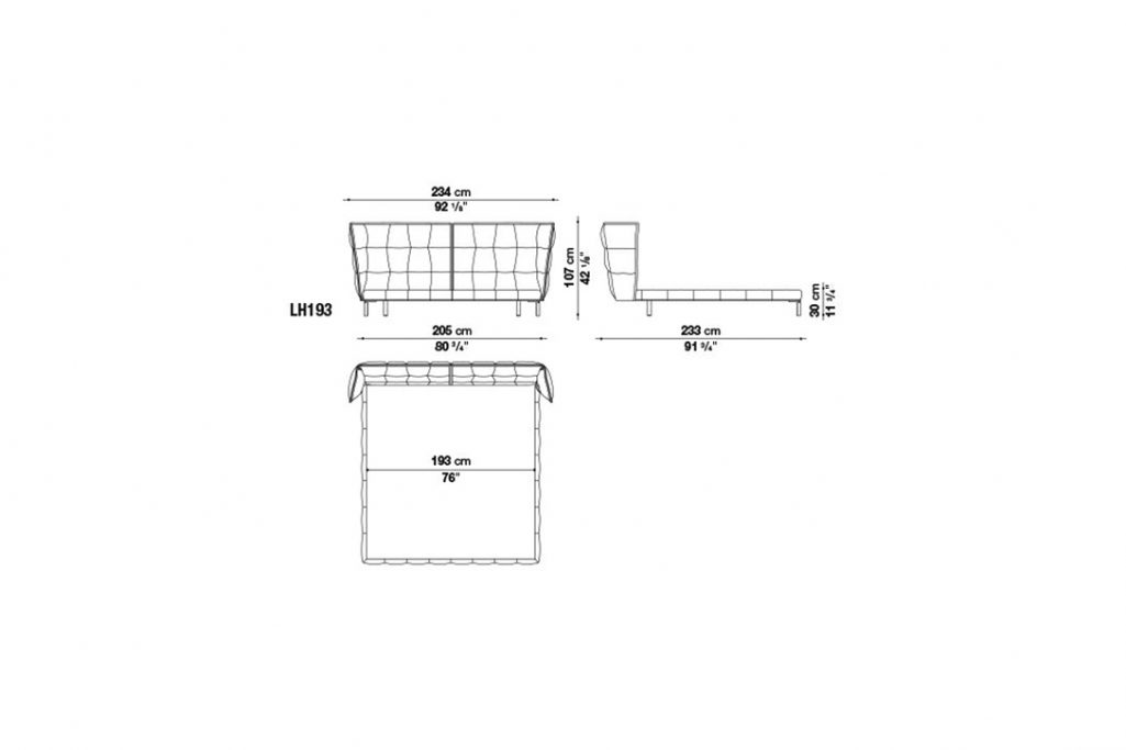 line drawing and dimensions for b&b italia husk bed model lh193