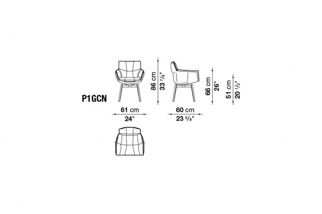 line drawing and dimensions for husk chair model p1gcn