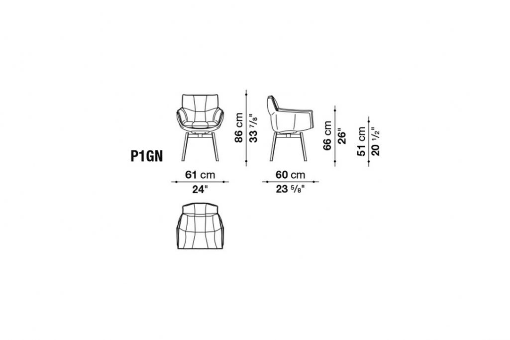 line drawing and dimensions of b&b italia husk chair model p1gn