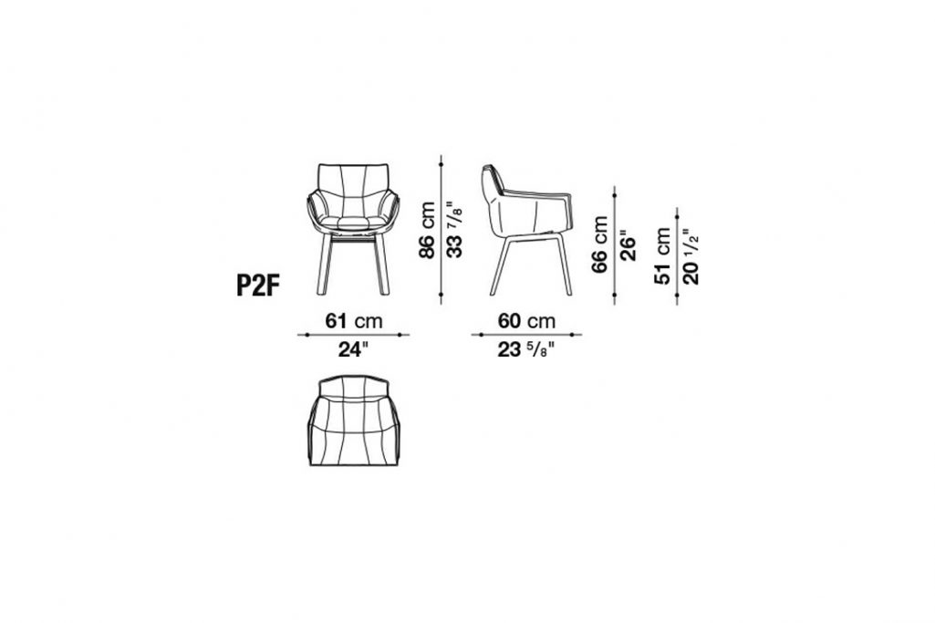 line drawing and dimensions for husk chair model p2f