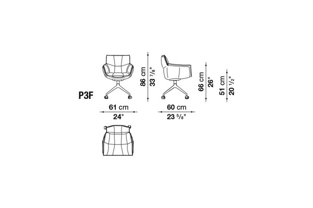 line drawing and dimensions of b&b italia husk chair model p3f