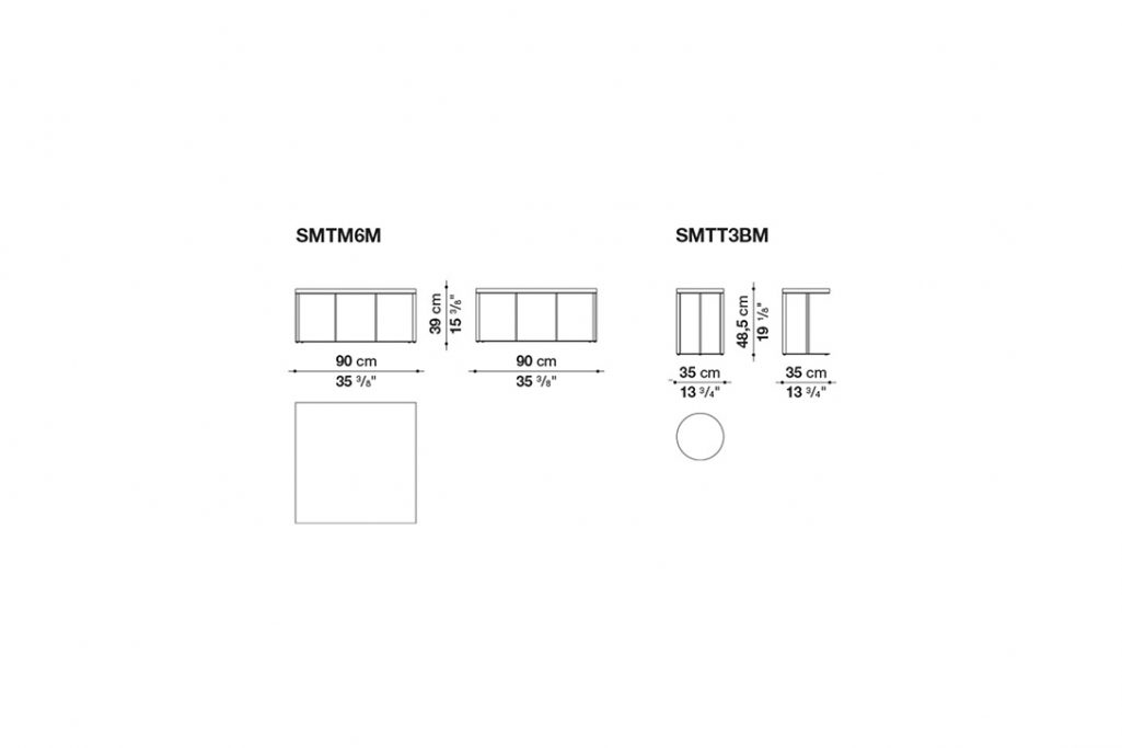 line drawing and dimensions for b&b italia lithos table quickship version