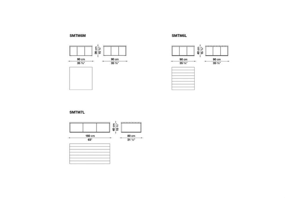 line drawing and dimensions for b&b italia lithos table